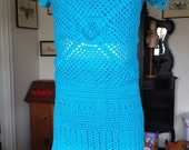 Girl's Turquoise knit crochet blouse with tube top & matching skirt