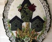 Bird House quilt and felt fabric frame art