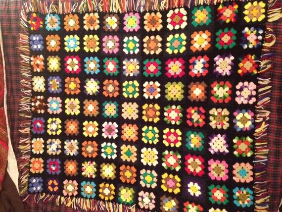 Granny Square Vintage Afghan Throw Blanket