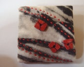Contemporary, textile art, jewellery, resist & discharge Brooches