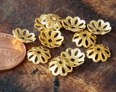 Bead Caps, Gold Finish, 10mm Flower - 50 pcs - eBCR016-GT