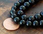 Black Agate Beads, 8mm Round - 15 Inch Strand - eGR-AG002-8