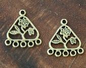 8 Pcs Chandelier Earring Component, Antique Bronze, 23x21mm Triangle