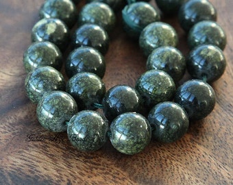 Russian Serpentine Beads, Dark Green, 10mm Round - 15 inch Strand - eGR-RS001-10