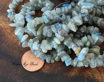 Labradorite Chips - 36 inch strand - eGC-LB006-M
