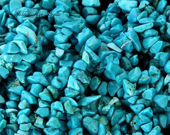 Howlite Turquoise Chips, Teal, 36 inch Strand - eGC-AT005-M