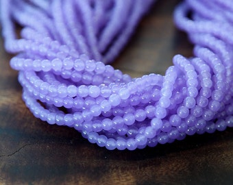 Dyed Jade Beads, Violet, 4mm Round - 16 Inch Strand - eSJR-M20-4