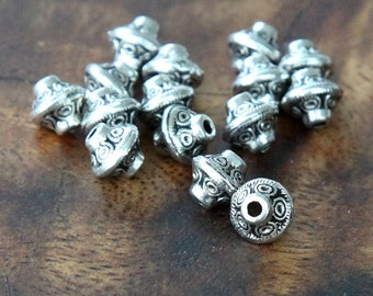 40 Pcs Spacer Beads, Antique Silver, 7mm Bicone - eTS005AS-7x6