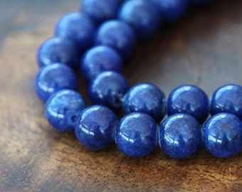Mountain Jade Beads, Cobalt Blue, 8mm Round - 15 Inch Strand - eMJR-B22-8