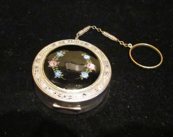 Vintage Dance Compact Art Deco Silver and Enamel Powder Compact Rouge Compact 1920s Very Good Condition