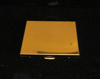 Vintage Powder Compact Mirror Compact Gold Tone 1970s Unused Mint Condition