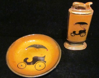 Vintage Evans Lighter and Ashtray Set Guilloche 1940s Very Good Working Condition