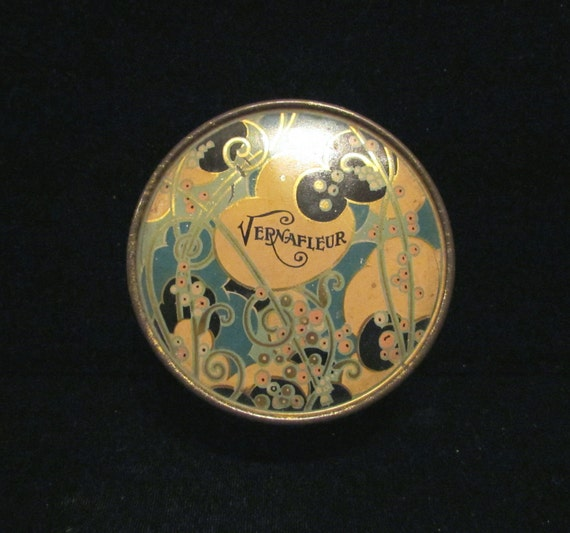 Vintage 1930s Powder Tin Vernafleur Powder Box Art Nouveau Very Good Condition