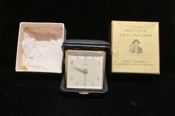 Vintage 1940s Alarm Clock Travel Alarm Seth Thomas Germany Excellent Condition In Original Box
