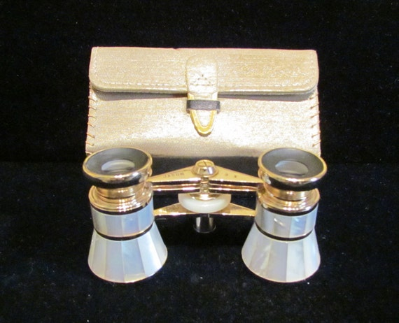 1950s Jason Opera Glasses Mother of Pearl Japan with Case Excellent Condition