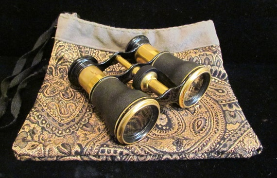 Antique Lemaire FAB T Paris Opera Glasses Binoculars Black Leather and Brass With Pouch 1800s Gorgeous Very Good To Excellent Condition