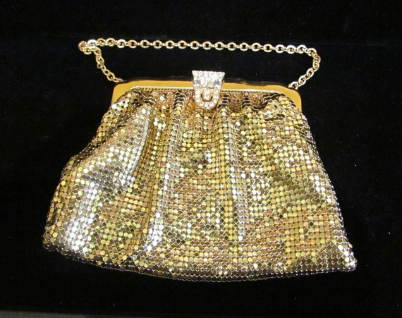 1930s Gold Mesh Purse, Whiting and Davis, Rhinestone Clasp, Excellent Condition