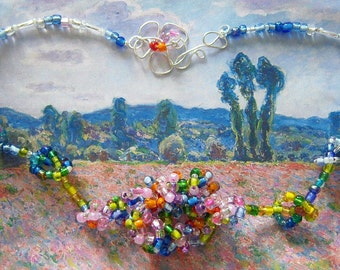 Monet's Poppyfield necklace and earrings