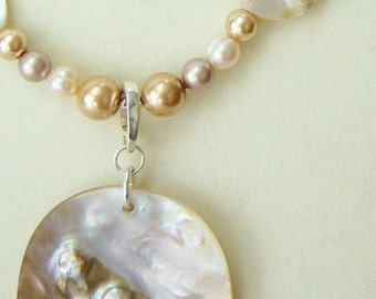 Shells & Pearls necklace with large MOP pendant and earrings.