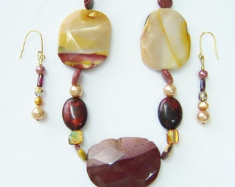 Raspberry and Caramel Mookaite necklace and earrings