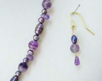 Celtic Passion amethyst, flourite and pearl necklace-bracelet & earrings.