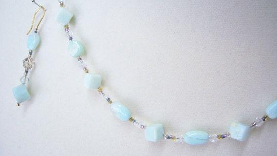 Andean Blue Opal and Swarovski Crystal jewelry.