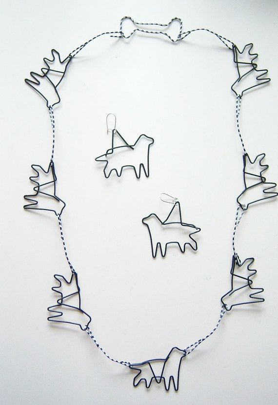 Dog themed and other paper clip jewelry