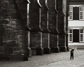 Boy And Cathedral - old city photograph, architecture, noir, street photo, 8x10