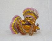 Pink Lemonade Handmade Moretti Glass Fish, Glass Sculpture, Art Glass, Lampwork Glass Bead, Pink, Purple and Yellow