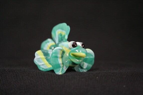 Springtime Handmade Lampwork Glass Fish, Moretti Glass Bead, Art Glass, Aqua, Lime and Sea Green