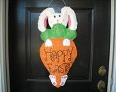 Burlap Door Hanger :Easter Bunny Holding Carrot