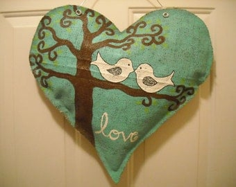 Burlap heart with Love Birds