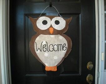"""Burlap Owl """"Welcome"""" Door Hanger"""