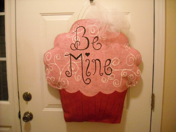 XL Burlap Valentine Cupcake Decoration