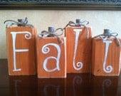 Wood Fall Pumpkin Block set - Seasonal Home Decor for fall, halloween, and thanksgiving decorating