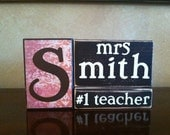 Personalized Wood Teacher Name Block RESERVED FOR RAMONA