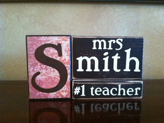 Personalized Wood Teacher Name Block - Perfect teacher gift for the end of the school year