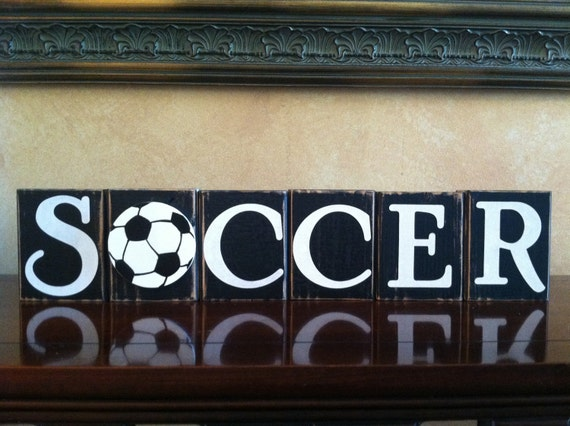 items similar to wood soccer blocks bedroom decor for boys room on
