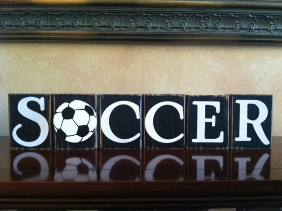 similar to wood soccer blocks bedroom decor for boys room on etsy