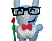 Blue Valentine Geek Bunny Stuffed Felt Toy