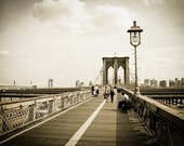 Brooklyn Bridge Photography, Fine Art Travel Photograph Print, New York Vintage Old Look Black and White 8x12, office decor