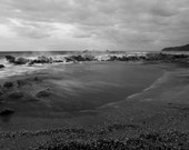 Black and White Photography, Shark, Beach Storm Photography Canvas Print or Photo Paper Rough Sea Landscape Storm 8x10 or 8x12
