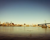 Philadelphia Skyline Photography, Downtown Philadelphia and Benjamin Franklin Bridge Print 8x12 or 8x10