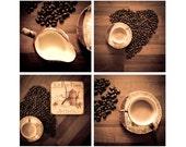 Still Life Photography, Kitchen Decor Photograph, Love Coffee, Set of Four Canvas or Photo Paper Fine Art Prints 4x4