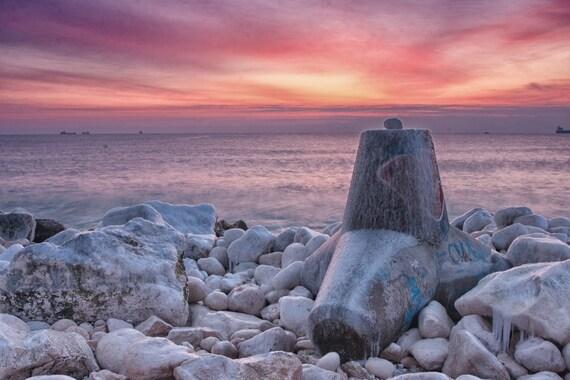 Fine Art Photography, Sunrise Canvas Print Photograph Seascape Frozen Rocks Winter Black Sea 8x10 or 8x12