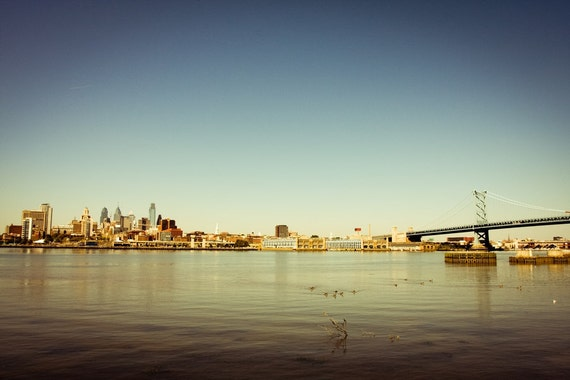 Philadelphia Skyline Photography, Downtown Philadelphia and Benjamin Franklin Bridge Print 8x12 or 8x10