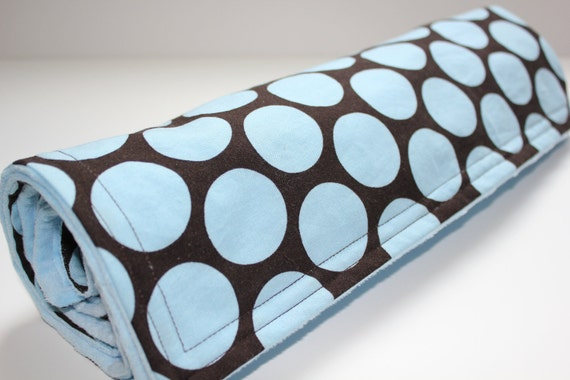 Boy baby blanket, Blue dot with dark brown, Ready to Ship