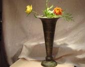 Vintage tall  Elegant Metal Urn Vase art nouveau  by hermina's cottage