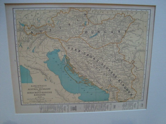 Reserved for Melissa 1924 map of Austria and Hungary Matted or unmatted