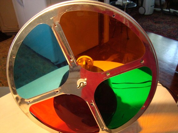Vintage 1950s 60s  Retro motorized  Magic Color Wheel  Rotating Light lamp for aluminum christmas tree  by hermina's cottage